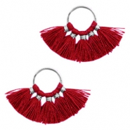 Tassels charm Silver-Port Red