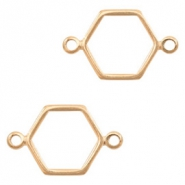 DQ European metal charms connector hexagon Rose Gold (nickel free)