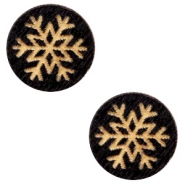 Wooden cabochon snowflake 12mm Black