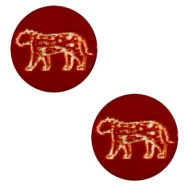 Wooden cabochon leopard 12mm Dark Red