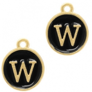 Metal charms letter W Gold(a little bit more Rose)-Black