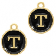 Metal charms letter T Gold-Black
