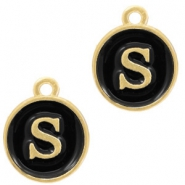 Metal charms letter S Gold-Black