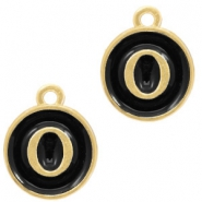 Metal charms letter O Gold-Black