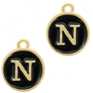 Metal charms letter N Gold-Black