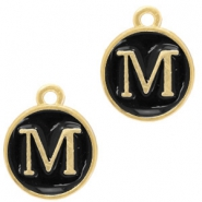 Metal charms letter M Gold-Black