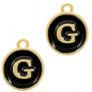 Metal charms letter G Gold-Black