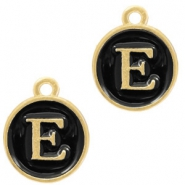 Metal charms letter E Gold-Black