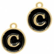 Metal charms letter C Gold-Black