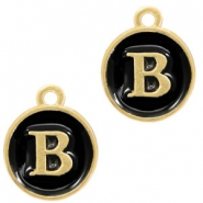Metal charms letter B Gold-Black