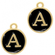 Metal charms letter A Gold-Black
