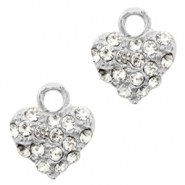 Metal rhinestone charms heart Antique Silver