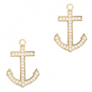 Metal rhinestone charms anchor Gold
