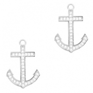 Metal rhinestone charms anchor Antique Silver