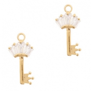 Metal rhinestone charms key with crown Gold
