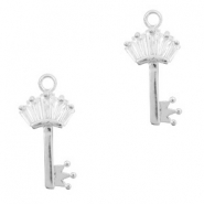 Metal rhinestone charms key with crown Antique Silver