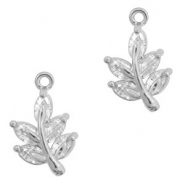 Metal rhinestone charms leave Antique Silver