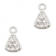 Metal rhinestone charms triangle Antique Silver