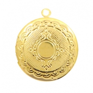 Metal charms medallion round Gold