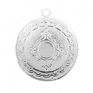 Metal charms medallion round Antique Silver