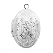 Metal charms medallion oval Antique Silver