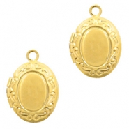 Metal charms medallion oval Gold