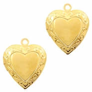 Metal charms medallion heart Gold