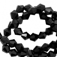 Top Faceted beads bicone 4 mm Jet Black-Pearl Shine Coating