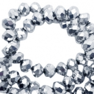 Top faceted beads 3x2mm disc Silver- Half Metallic Coating