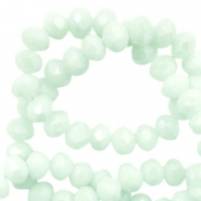 Top faceted beads 3x2mm disc Soft Turquoise Green-Pearl Shine Coating