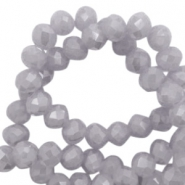 Top faceted beads 3x2mm disc Stone Grey-High Shine Coating