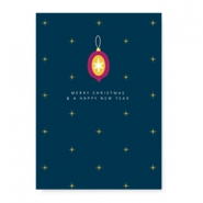"Jewellery cards ""Merry Christmas & a happy New Year"" Blue"