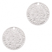 Bohemian charms coin 15mm Silver