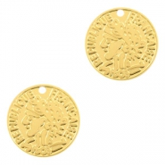Bohemian charms coin 10mm Gold