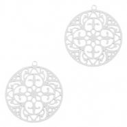Bohemian charms round 20mm Silver