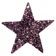Faux leather pendants star with glitter Black-purple