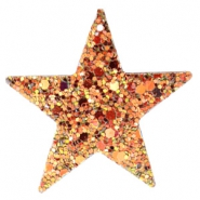 Faux leather pendants star with glitter Rosegold-gold