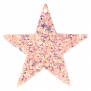 Faux leather pendants star with glitter Vintage pink