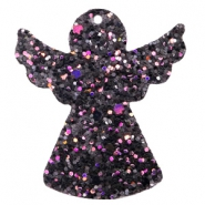 Faux leather pendants angel with glitter Black-purple