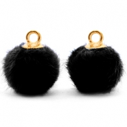 Pompom charms with loop faux fur 12mm Black-Gold