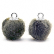 Pompom charms with loop faux fur 12mm Dark Grey-Silver