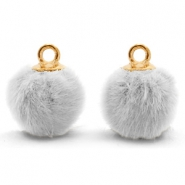Pompom charms with loop faux fur 12mm Light Grey-Gold
