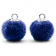 Pompom charms with loop faux fur 12mm Denim Blue-Silver