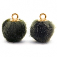 Pompom charms with loop faux fur 12mm Olive Grey-Gold