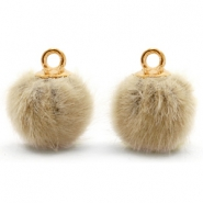 Pompom charms with loop faux fur 12mm Taupe Brown-Gold