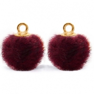 Pompom charms with loop faux fur 12mm Port Purple Red-Gold