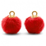 Pompom charms with loop faux fur 12mm Siam Red-Gold