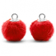 Pompom charms with loop faux fur 12mm Siam Red-Silver