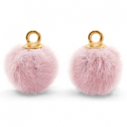 Pompom charms with loop faux fur 12mm Vintage Pink-Gold