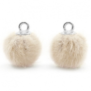 Pompom charms with loop faux fur 12mm Sand Beige-Silver